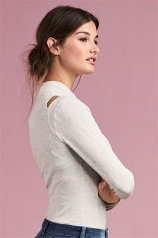 Light Knit Cold Shoulder Top