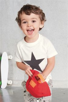 Short Sleeve Flock Print Star T-Shirt (3mths-6yrs)