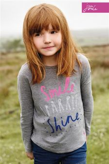 Little Joule Bessie Grey Smile Screen Print Jersey Top