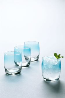 Set Of 4 Teal Spray Glass Tumblers