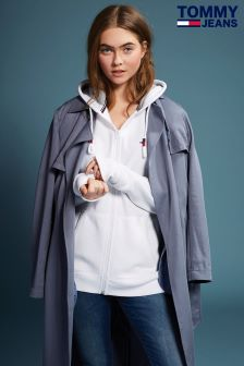 Tommy Hilfiger Denim White Oversized Zip Hoody
