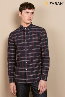 Farah Navy Slim Fit Check Shirt