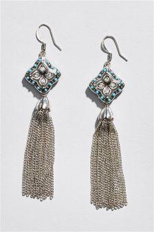 Turquoise Stone Tassel Earrings