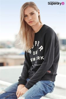 Superdry Black Appliqué NY Raglan Crew