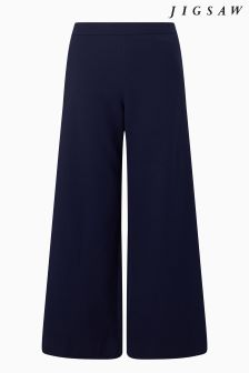 Jigsaw Navy Compact Crepe Zip Adjuster Trouser