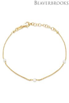 Beaverbrooks Silver Gold Plated Synthetic Pearl Bracelet