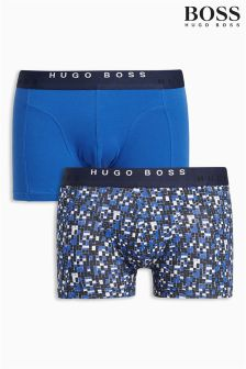 Boss Hugo Boss Blue/Navy Print Woven Boxer Two Pack