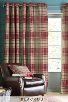 Morcott Woven Check Eyelet Lined Curtains