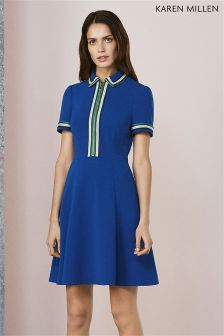 Karen Millen Blue Zip Polo Dress