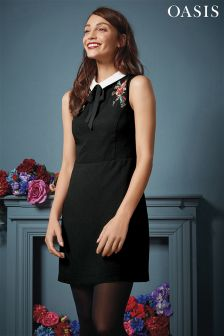Oasis Black Embroidered Shift Dress