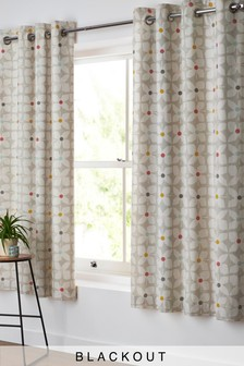 Retro Geo Floral Eyelet Curtains