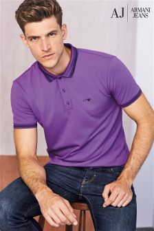 Armani Jeans Purple Tipped Collar Polo