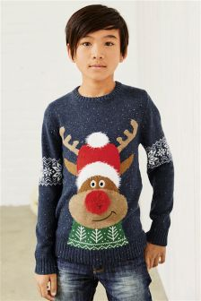 Light-Up Christmas Reindeer Jumper (3-16yrs)