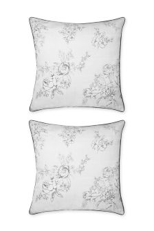 Set Of 2 Grey Floral Square Pillowcases