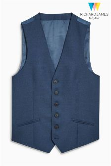 Richard James Blue Flannel Suit Waistcoat