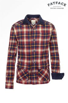 Fat Face Cranberry Cord Collar Overshirt