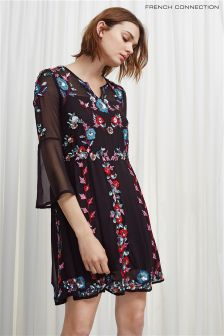 French Connection Black Multi Edith Floral Long Sleeve Dress