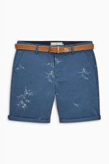 Bamboo Print Belted Shorts