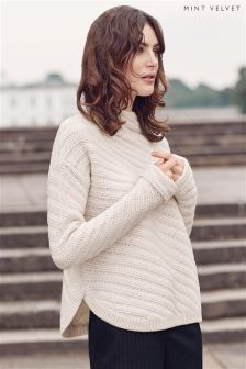 Mint Velvet Cream Diagonal Rib Stitch Cocoon Knit