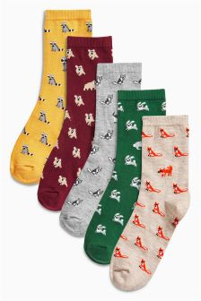 Miniature Animal Pattern Ankle Socks Five Pack