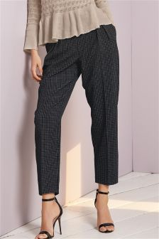 Grid Check Carrot Trousers