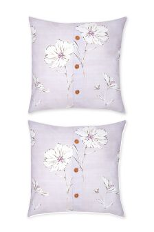 Set Of 2 Cotton Rich Mauve Floral Square Pillowcases