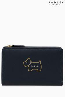 Radley Ink Navy Heritage Dog Outline Medium Zip Top Purse
