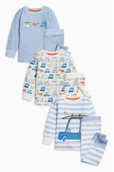 Fluro Cars Snuggle Fit Pyjamas Three Pack (9mths-8yrs)