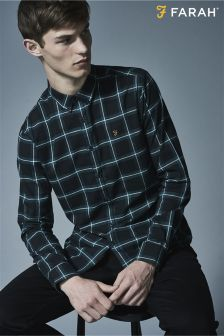 Farah Black Slim Fit Check Shirt