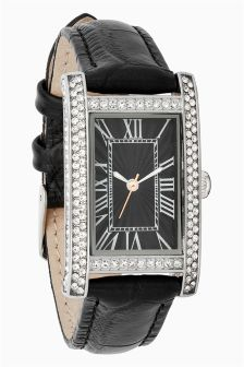 Embellished Rectangle Leather Strap Watch