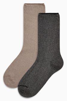 Metallic Ankle Socks Two Pack