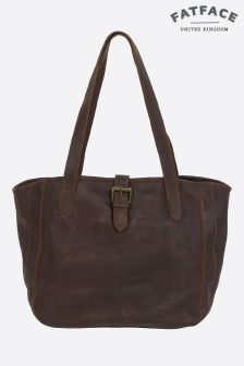 Fat Face Chocolate Small Shaped Oiled Buckle Tote