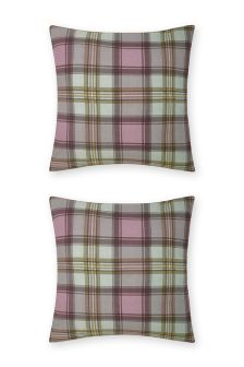 Set Of 2 Norway Check Square Pillowcases