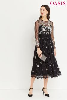 Oasis Black Fairytale Midi Dress