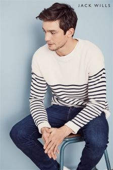 Jack Wills Cream Ettington Stripe Knit Jumper