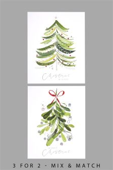 12 Painted Tree And Mistletoe Cards