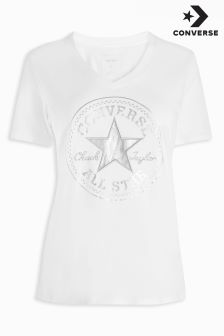 Converse White Metallic V-Neck Tee