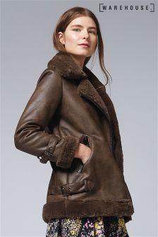 Warehouse Khaki Oversized Faux Fur Biker Jacket