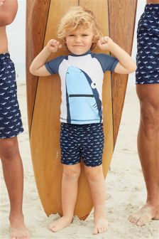 Shark Swim Shorts And Vest Two Piece Set (3mths-6yrs)