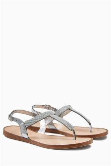 Embellished Toe Thong Sandals