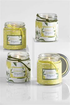 Set Of 4 Lemon And Bergamot Jar Candles