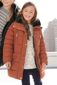 Fur Trim Long Padded Coat (3-16yrs)