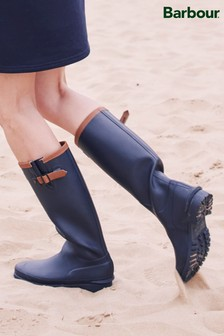 Barbour® Navy/Tan Leather Trim Welly