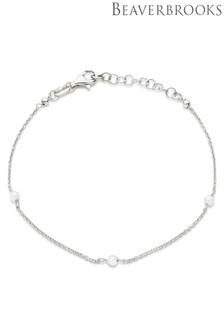 Beaverbrooks Silver Synthetic Pearl Bracelet