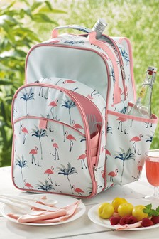 4 Person Flamingo Print Filled Picnic Backpack
