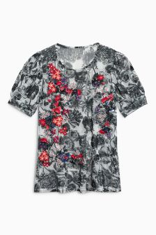 Floral Embroidery Printed Mesh Top