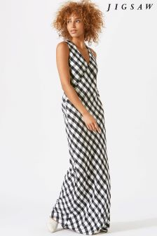 Jigsaw Blue Mini Gingham Maxi Dress