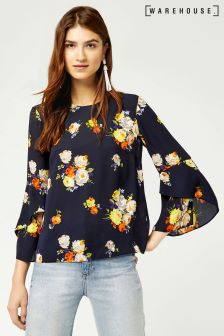 Warehouse Navy Pattern Victoria Floral Ruffle Sleeve Top