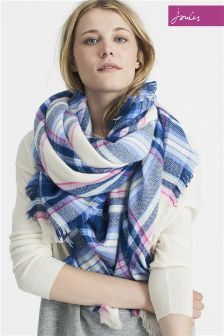 Joules Cream Check Scarf