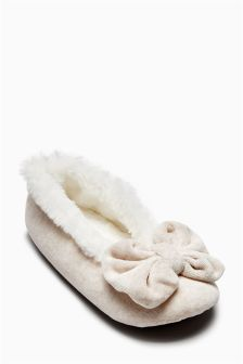 Velvet Bow Ballerina Slippers (Older Girls)